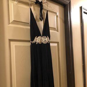 Dresses & Skirts - Black halter dress with rhinestones